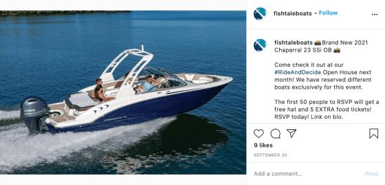 Boat for sale on Instagram
