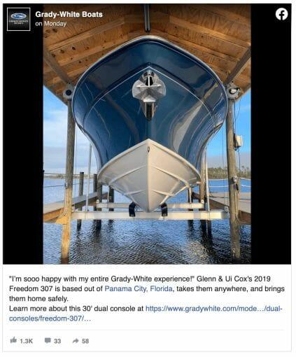Grady White Boat posting on Facebook