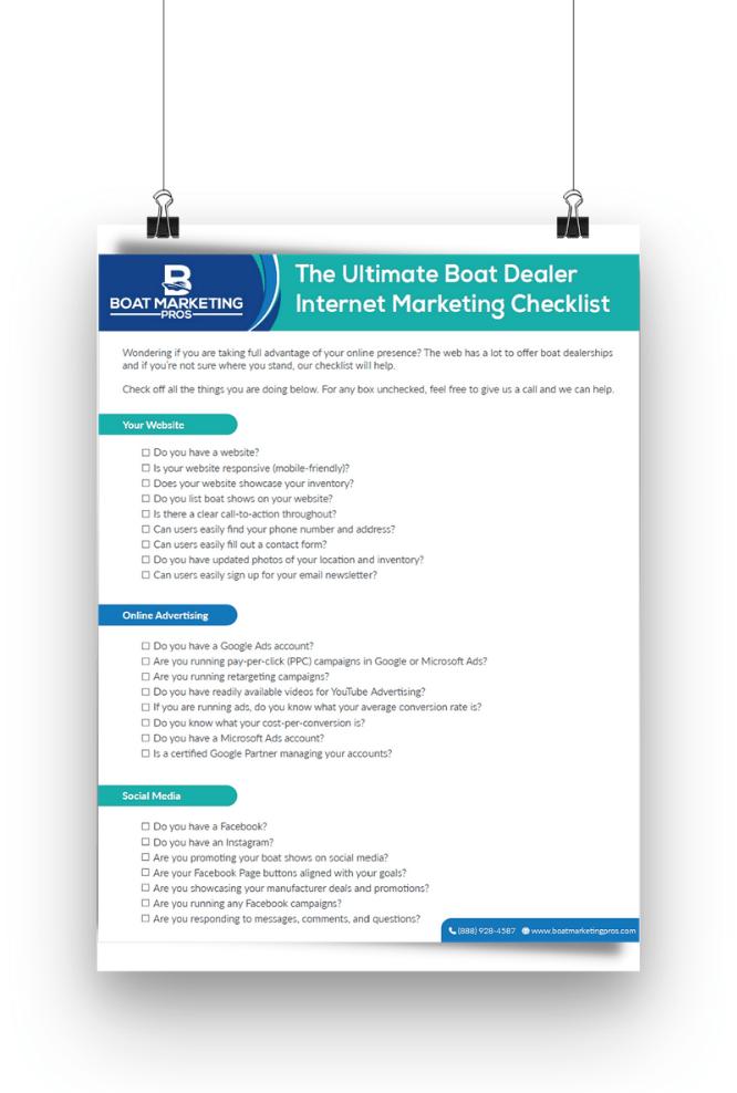 The Ultimate Boat Dealer Internet Marketing Checklist